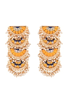 Matte Gold Finish Embroidered Pearl Hanging Layered Long Earrings by Bauble Bazaar