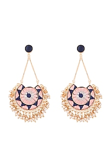 Matte Gold Finish Embroidered Circular Moon Long Chain Earrings by Bauble Bazaar