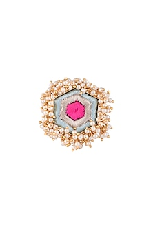 Matte Gold Finish Embroidered Pearl Hanging Hexagonal Ring by Bauble Bazaar