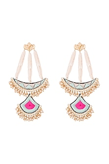 Matte Gold Finish Zari Embroidered Pearl Long Chand Earrings by Bauble Bazaar