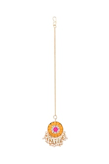 Matte Gold Finish Embroidered Pearl Hanging Maang Tikka by Bauble Bazaar