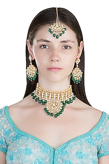 Gold Plated Pachi Kundan Necklace Set With Maang Tikka by Bauble Bazaar