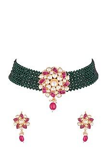 Gold Plated Pachi Kundan & Emerald Choker Necklace Set by Bauble Bazaar