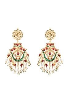 Gold Plated Pachi Kundan & Bead Earrings by Bauble Bazaar