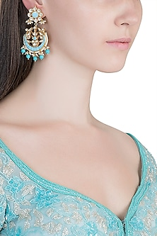 Gold Plated Pachi Kundan & Turquoise Stone Earrings by Bauble Bazaar