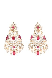 Gold Plated Pachi Kundan & Ruby Pink Stones Earrings by Bauble Bazaar