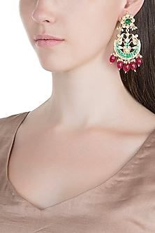 Gold Plated Pachi Kundan & Stone Earrings by Bauble Bazaar