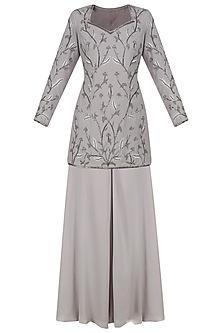 Ash Grey Frozen Garden Embroidered Sharara Set