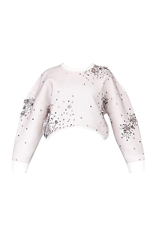 White Embroidered Drop Shoulder Sweatshirt