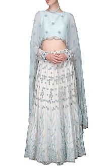 Ocean Blue and Ivory Embroidered Lehenga with Crop Top and Cape by Bhaavya Bhatnagar