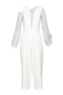 Ivory Embroidered Culotte Jumpsuit