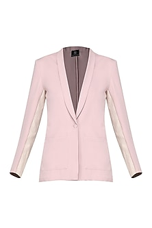 Ash Pink Faux Leather Insert Blazer