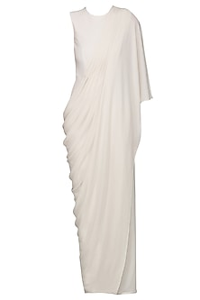 Ivory Drape Jumpsuit Saree by Bhaavya Bhatnagar