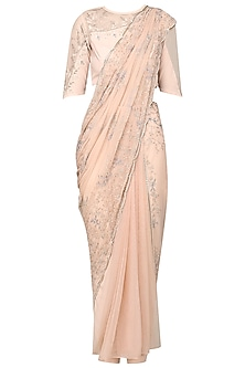 Ash Pink Embroidered Pre-Stitched Saree with Blouse and Pants