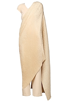 Champagne Beige Draped Pleats Jumpsuit