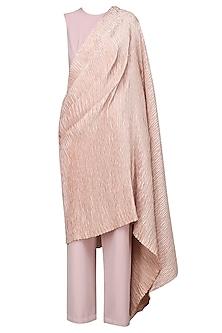 Ash Pink Draped Pleats Jumpsuit by Bhaavya Bhatnagar