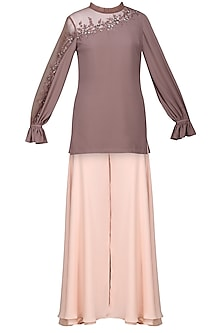 Ash Pink Embroidered Tunic with Sharara Pants