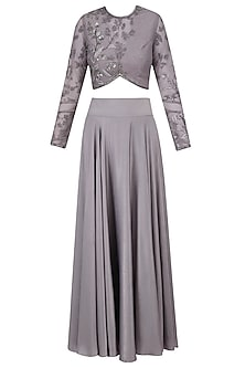 Grey Floral Beads Embroidered Blouse and Skirt Set