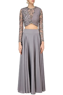 Grey Floral Beads Embroidered Blouse and Skirt Set by Bhaavya Bhatnagar
