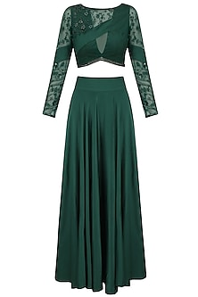Emerald Green Floral Beads Embroidered Blouse and Skirt Set by Bhaavya Bhatnagar
