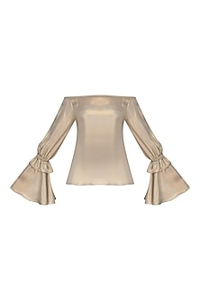 Metallic Gold Off Shoulder Bell Sleeves Top
