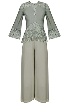 Sage Grey Floral Embroidered Top and Pants Set