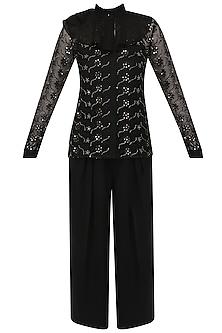 Black Floral Embroidered Shirt and Pants Set