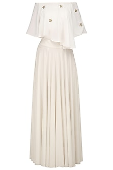 Ivory Off Shoulder Cape Top and Skirt Set by Bhaavya Bhatnagar