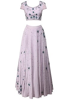 Lilac Floral Embroidered Blouse And Lehenga Set by Bhaavya Bhatnagar