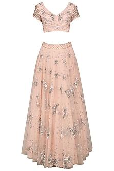 Blush Blossom Hand Embroidered Lehenga Set