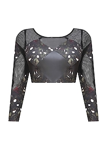 Black, Bottle Green, White and Wine Kiem Print Sheer and Leather Check Detailed Crop Top by Bhaavya Bhatnagar