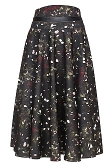 Black, Bottle Green, White and Wine Kiem Printed Skirt with Leather Belt