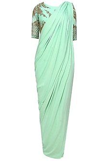 Mint and gold floral beads embroidered three piece concept draped saree set