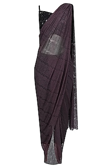 Deep Purple Lace Saree Set