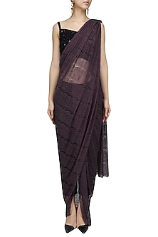 Purple Lace Saree