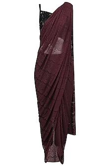 Oxblood Lace Saree Set