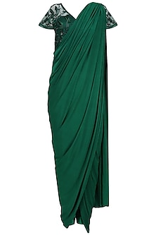 Forest Green Embroidered Drape Saree Set