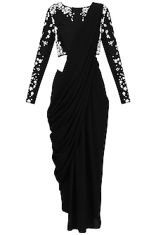 Black Pre-Stitched Drape Saree with  Beaded Crop Top Set by Bhaavya Bhatnagar