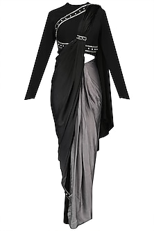 Black Ombred Drape Saree with  Structured Crop Top Set