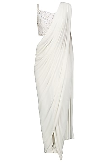 Ivory Drape Saree Set