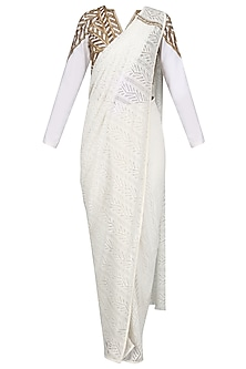 White Saree with  Embroidered Blouse and Pants Set