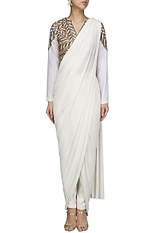 White Saree with  Embroidered Blouse and Pants Set by Bhaavya Bhatnagar