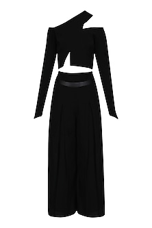 Black Asymmetric Crop Top and High Waisted Culottes