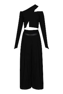 Black Asymmetric Crop Top and High Waisted Culottes by Bhaavya Bhatnagar