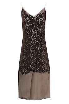 Bronze and Black Cutwork Overlay Strappy Dress