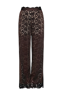 Bronze and Black Cutwork High Waisted Trousers