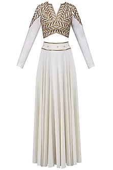 Ivory and Gold Embroidered Crop Top with  High Waisted Skirt by Bhaavya Bhatnagar