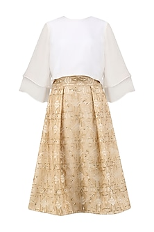 Beige Glistening Sunset Skirt with  Ivory Flounce Crop Top