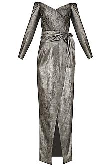 Metallic Moonlight Wrap Dress
