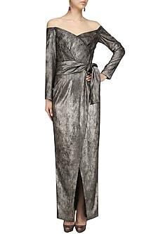 Metallic Moonlight Wrap Dress by Bhaavya Bhatnagar